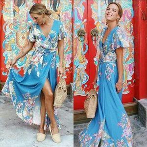 Blue Skies Wrap Dress